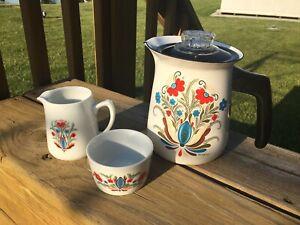 Scandinavian Percolator Cream & Sugar Set, Berggren, Floral Rosemaled Enamelware