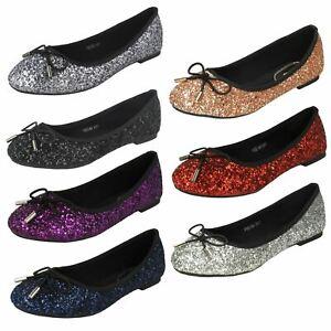 Anne Michelle Ladies Glittery Ballerina Shoes