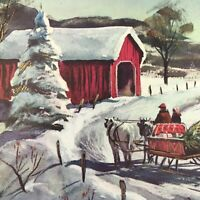 Vintage Mid Century Christmas Greeting Card Red Covered Bridge Sleigh Ride Horse
