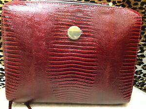 NWOT 👛Estée Lauder Cosmetic Bag Case Red Faux Leather Zip Closure👜