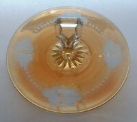 "Antique Center Handle Sandwich Tray Marigold Carnival Glass Grape, Leaf Etch 10"""