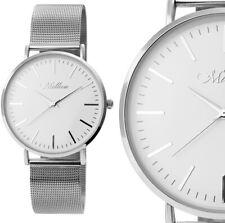 Herrenuhr Damenuhr Quarz Armbanduhr Silber Weiss Mesh Milanaise M1s von Millieu
