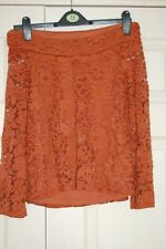 NEW UK 10 V by Very Rust Orange Lace Lined Bardot Bandeau Top Flute Sleeve