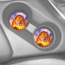 LION KING SUNSET ART CUSTOM RUBBER CAR COASTERS SET (2)