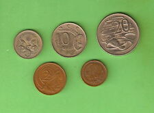 AUSTRALIAN CIRCULATED DECIMAL COINS FOR 1968, ONE CENT TO 20 CENTS, 5 COINS