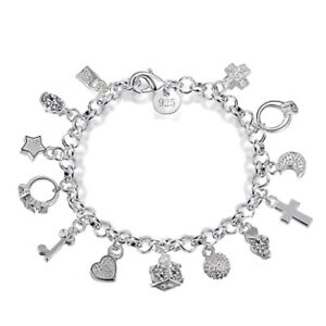 Ladies 925 Sterling Silver Charm Bracelet with 13 Charms
