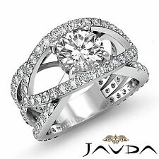 Round Diamond Magnificent Engagement Halo Ring GIA F SI1 14k White Gold 2.2ct