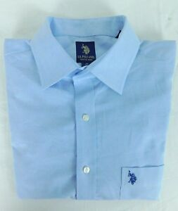 NWOT US Polo Association Light Blue Oxford Men's Shirt 16 34/35 Pocket Emblem