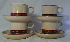 DENBY Langley POTTER'S WHEEL- RUST RED pattern Set of Four (4) Cups & Saucers
