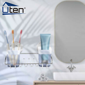 Wall-Mounted Bathroom Tumbler Holder With Two Cups Shelf Toothbrush Toothpaste