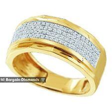 mens diamond .35 carat wedding ring micro pave bling 925 yellow ice out man