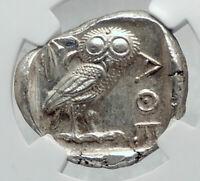 ATHENS Greece 440BC Ancient Silver Greek TETRADRACHM Coin Athena Owl NGC i80946