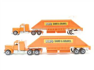 LOT of 2 HO 1/87 Scale Hot Wheels 1980 Bobs Sand & Gravel Truck w/ Steering Ring