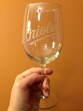 Baltimore Orioles Custom Etched Wine Glass