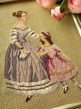Vtg PREWORKED Needlepoint Canvas all POINT PETIT-Victorian Figure Mom Girl Pink
