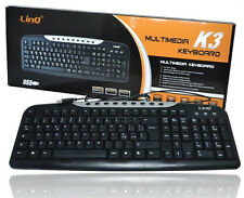 Tastiera Keyboard multimediale USB 2.0 Ps3 Ps4 PC Notebook Linq It-k3 mshop