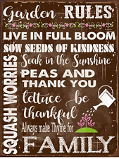Sun Protected Garden Rules Metal Sign, Spring, Country Home, Rustic Décor
