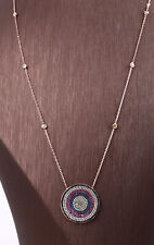 COLORFUL RUBY ROSE GOLD COLORED OVER .925 STERLING SILVER NECKLACE #22939