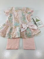 Rare Editions Girls Baby 2 Piece Embroidered Dress With Leggings Blush 24m NWT @