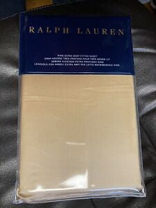 New Ralph Lauren King Extra Deep Fitted Sheet Polished Bronze RL 624 Sateen