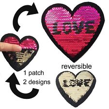 Sequin love heart iron on patch - reversible design pink silver iron-on patches