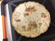 H B Limoges Hand Painted Cabinet Plate Heavy gold Bright Colored Flowers