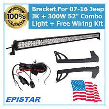 """52"""" 300W LED Light Bar SPOT FLOOD +Mounting Bracket+Wiring for JEEP JK Wrangler"""