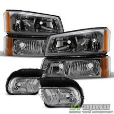 2003-2006 Chevy Silverado 1500 Avalanche Headlights+Corner Bumper+Fog Lights Set