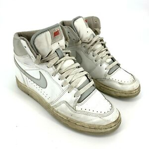 VTG 1980s Nike Basketball Shoes sz 5.5 Taiwan #870507PD White Grey AJ1 Dunk