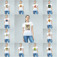 Women Funny Animal Printed T-shirt Summer Short Sleeve White Cotton Casual Tops