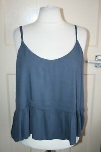 BNWT SIZE 18 TOPSHOP BLUE LIGHTWEIGHT STRAPPY TOP WITH FRILL HEM