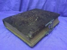 ANTIQUE TOOLED FAUX LEATHER PHOTO ALBUM-BRASS CLASP-32 PICTURES WEALTHY FAMILY.