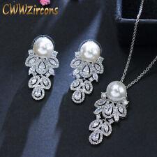 Cubic Zirconia Long Pearl Drop Necklace Earrings Set 925 Sterling Silver Jewelry