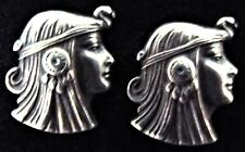 Vintage 1940's Sterling Silver Figural EGYPTIAN CLEOPATRA Cufflinks Cuff Links