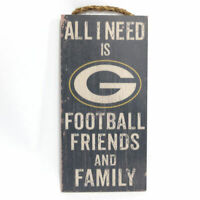 """NFL Green Bay Packers """"All I Need is Football Friends and Family"""" Wood Sign"""