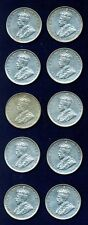 AUSTRALIA GEORGE V 1936 1 SHILLING SILVER COINS, LOT OF (10), VF/XF GROUP