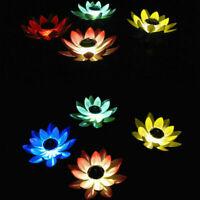 Solar Power Lotus LED Night Light Flower Floating Fountain Pond Garden Pool Lamp