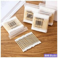 6 Packs Cotton Stems 6 Packs 600 Pieces Bamboo Cotton Buds for Cleaning Tools