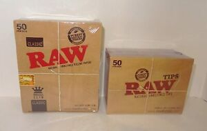 50 RAW CLASSIC Kingsize Slim Rolling Papers & 50 Raw Tips - Authentic UK Stock