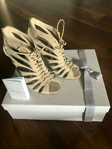 Boxed Jimmy Choo Keena 100 Nude Suede Sandals,  US 7, EU 37, Worn Once