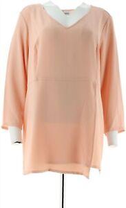 Linea Louis Dell'Olio Gauze Crepe Tunic Asymmetric Peach Parfait XXS # A287611