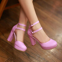 Mary Janes Pumps High Block Hot Womens Ladies Platform Ankle Strap Party Shoes