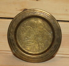 Vintage Egyptian hand made brass engraved wall hanging plate