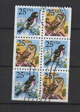 U.S.A. États-Unis d'Amérique oiseaux 1988 6 timbres oblitérés/T2293