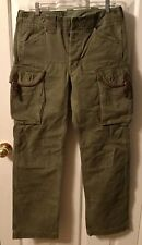 Ralph Lauren RRL Military Green Leather Buckles Heavy Cargo 31 X 34 Trousers