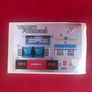 Vintage G1 Transformers - 1985 - Autobot Car Red Alert - Sticker Sheet