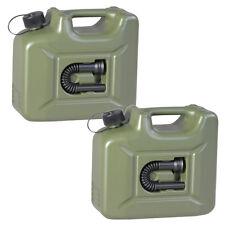 2er Set Benzinkanister 10L oliv NEU 2x ARMY Kraftstoff-Kanister Profi 10 Liter