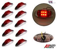 10 X 24V 6 LED SIDE CHROME MARKER RED LIGHTS LAMPS TRAILER HORSEBOX VAN