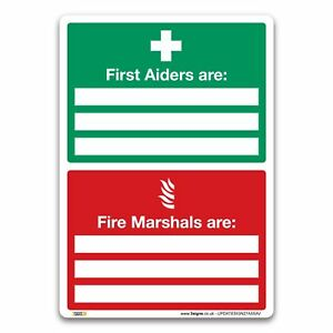 First Aiders Are Fire Marshals Are Sign Vinyl - First Aid Safety