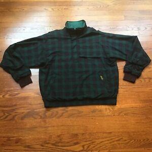 Zero Restriction Golf Gore-Tex Green /Blue Plaid 1/4 zip LS Pullover Jacket Sz L